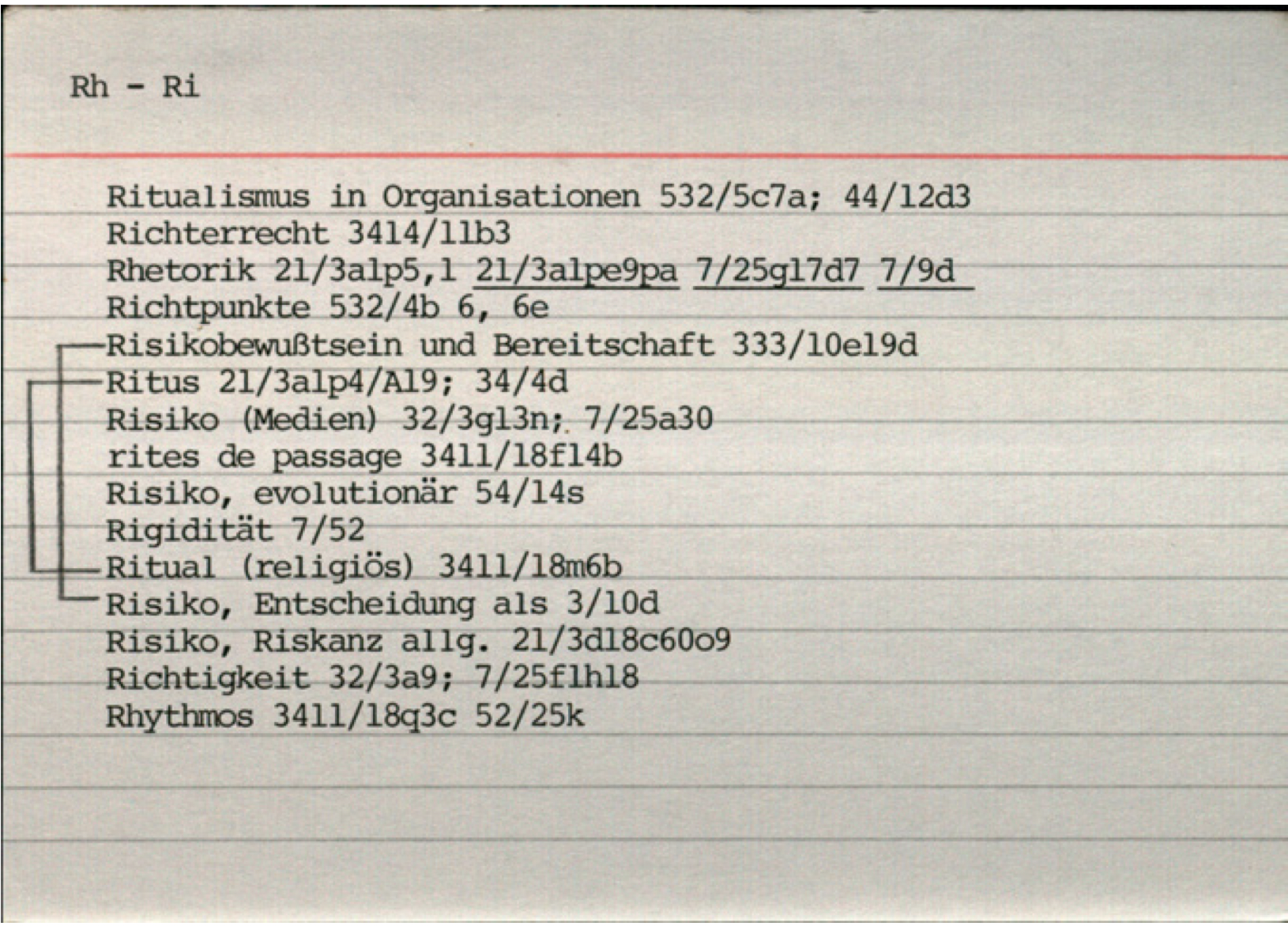 Последнюю версию индекса Луман печатал на машинке на каталожных карточках