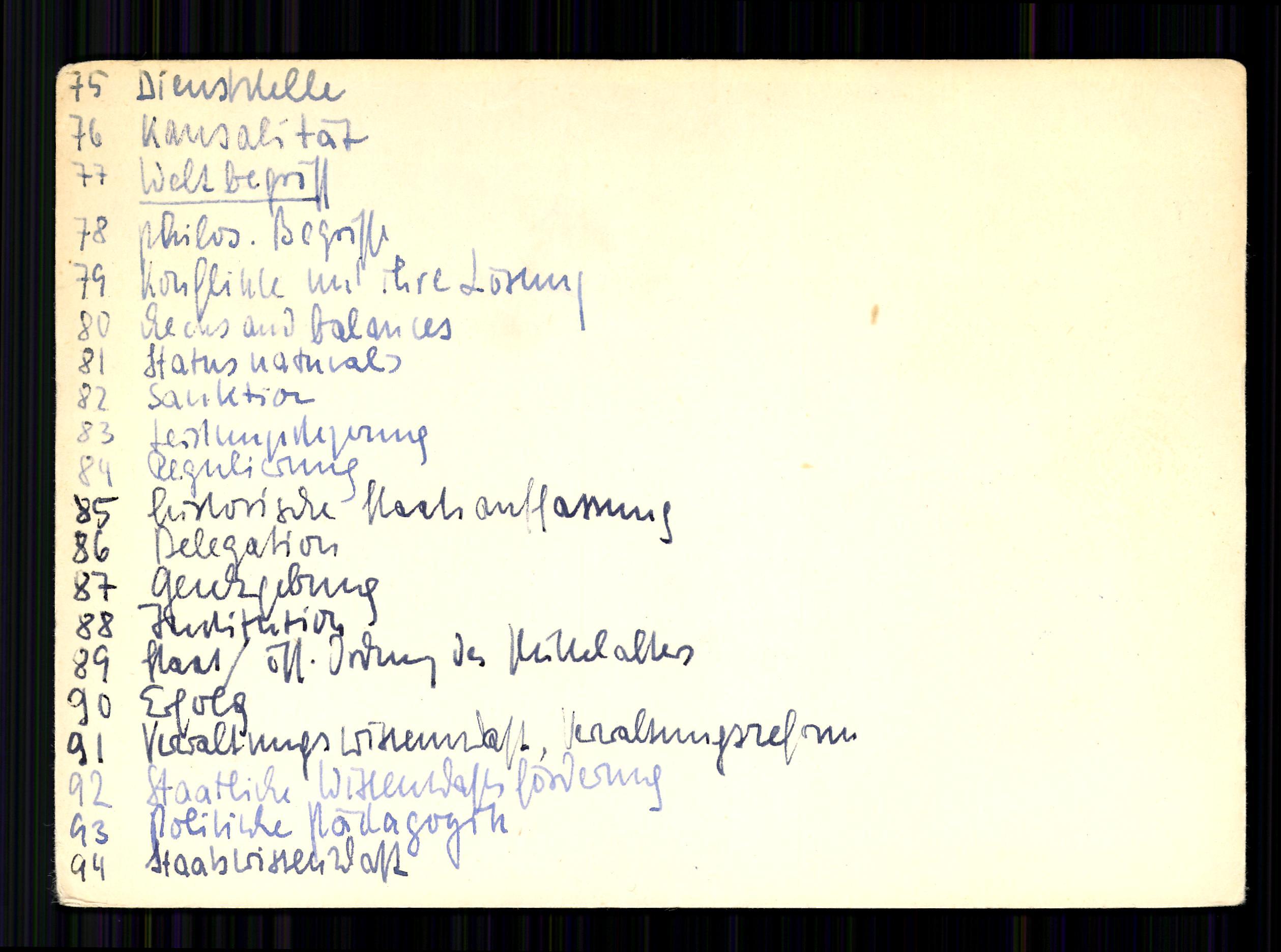 Список ключевых слов первой коллекции Лумана умещался на шести карточках
